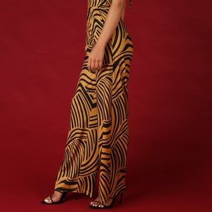 Lucen by NIkibiki Pants - Gold Zebra Halter Jumpsuit